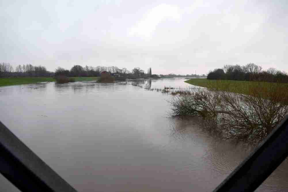 The River Don near the top of its flood banks as seen from Jubilee Bridge in January 2016
