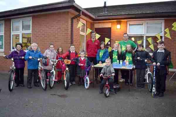 Sheep Dip students on their bikes