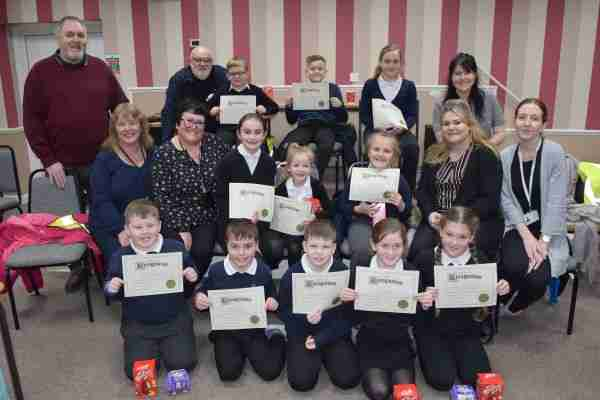 Moorends Ambassadors receive certificates from the Monday Smile-a-while group
