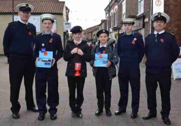 Sea cadets selling poppies in Thorne Town Centre