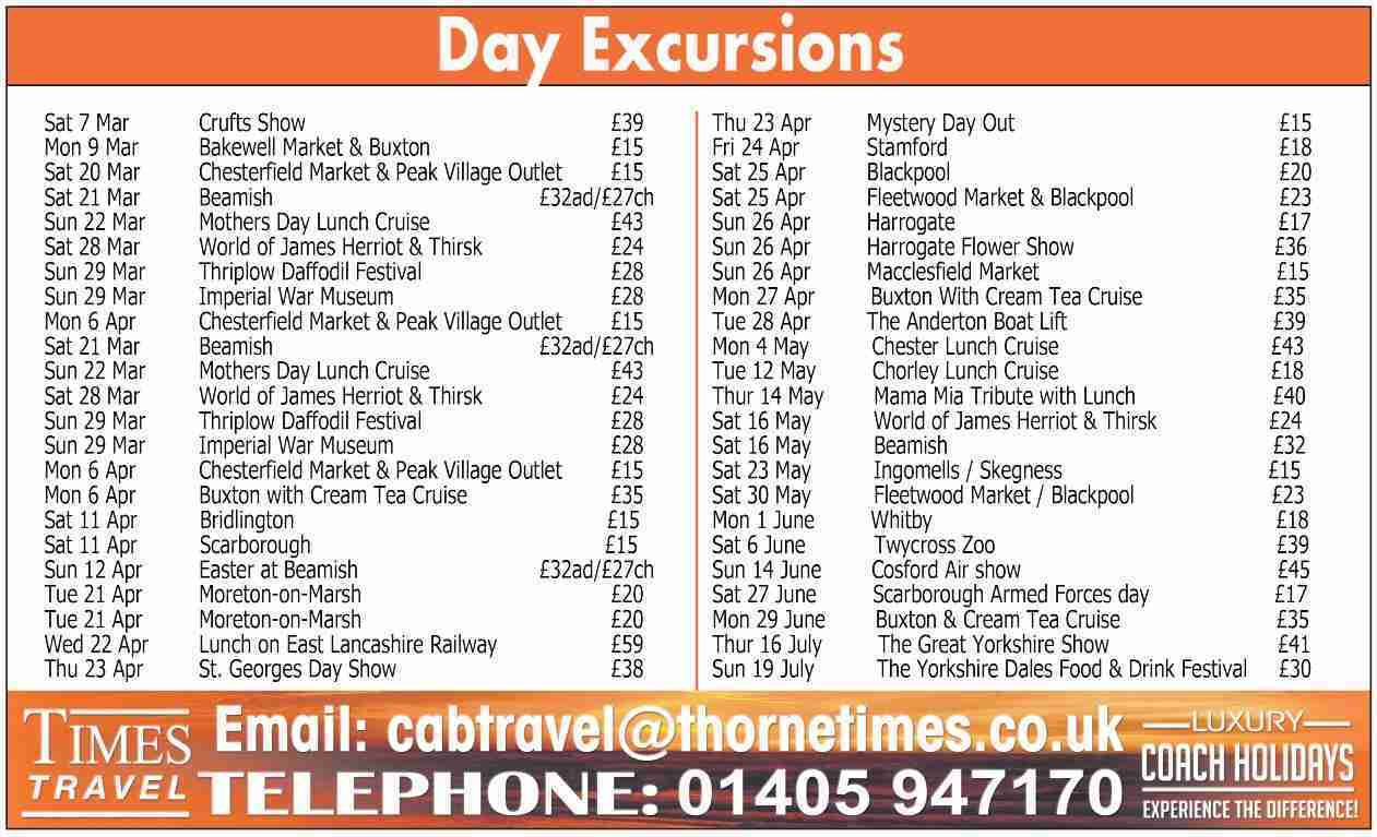 Day excursions March 20